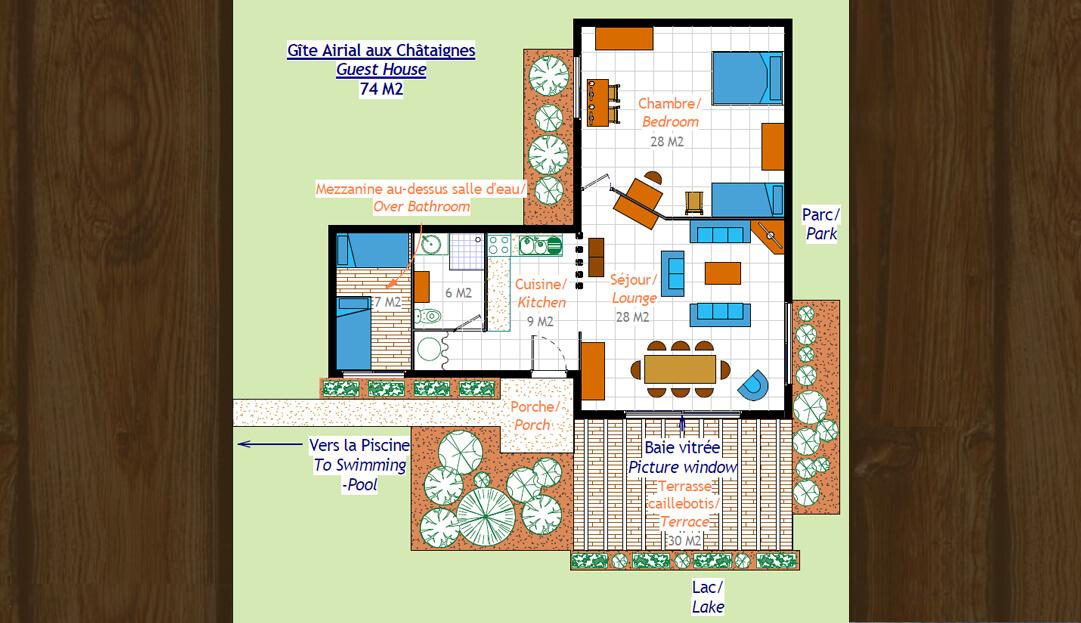 Plan du Pavillon Soleil Airial aux Châtaignes